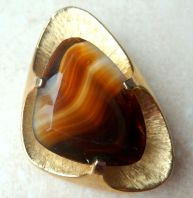 Vintage Large Art Glass Faux Agate Modernist Brooch By Sphinx